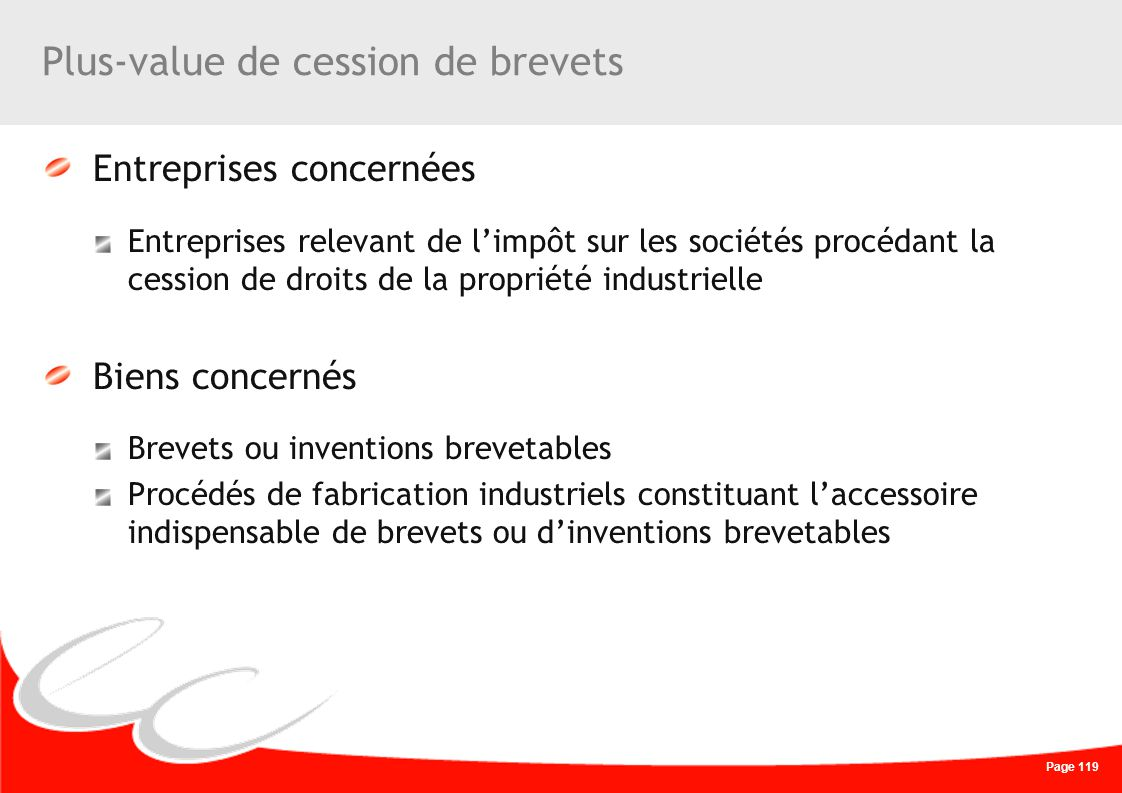 Plus-value de cession de brevets