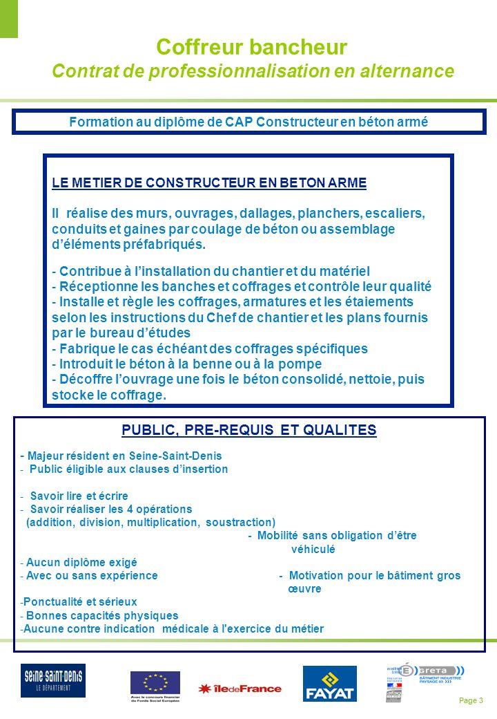 Coffreur bancheur Contrat de professionnalisation en alternance