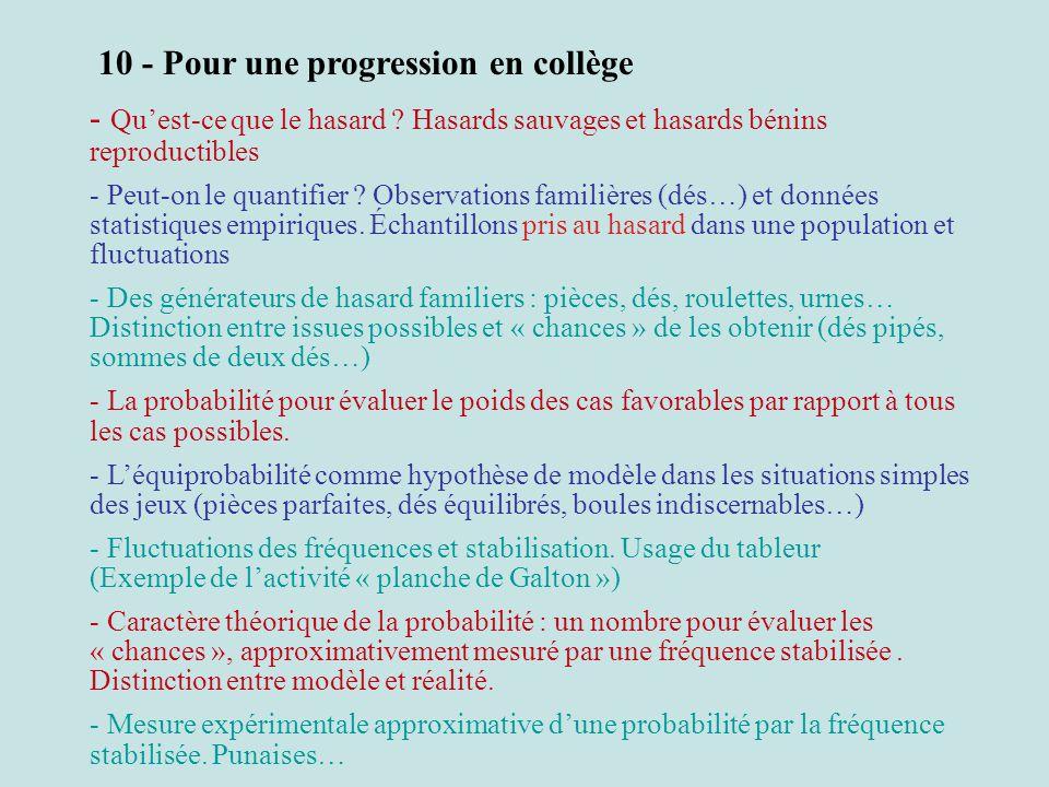 10 - Pour une progression en collège