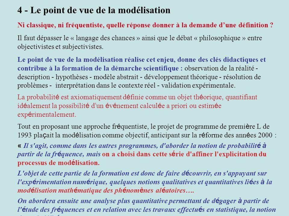 4 - Le point de vue de la modélisation