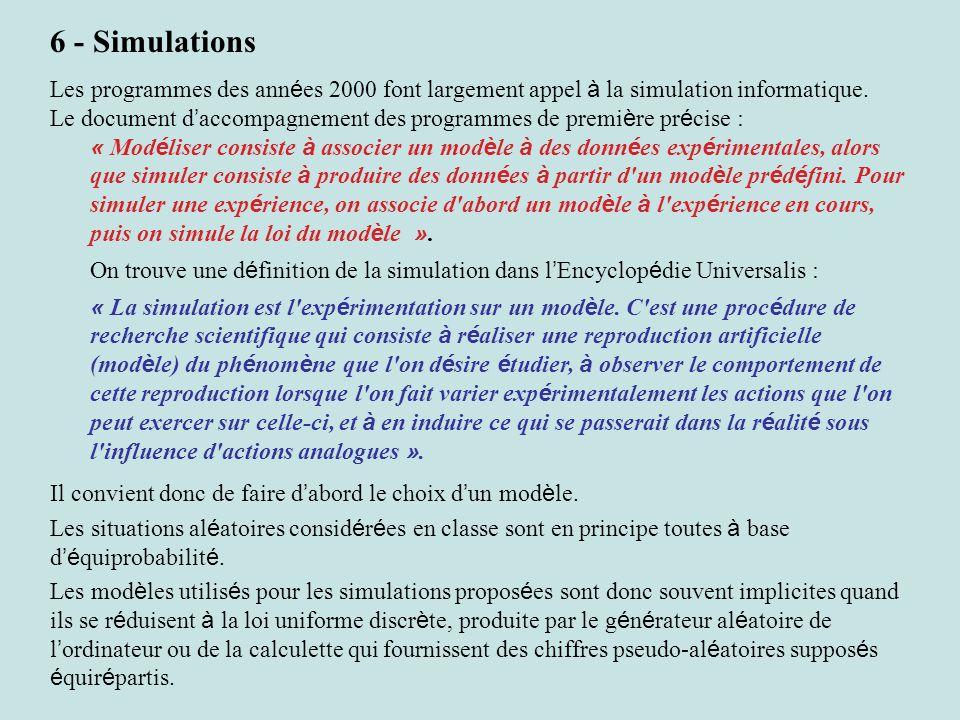 6 - Simulations Les programmes des années 2000 font largement appel à la simulation informatique.