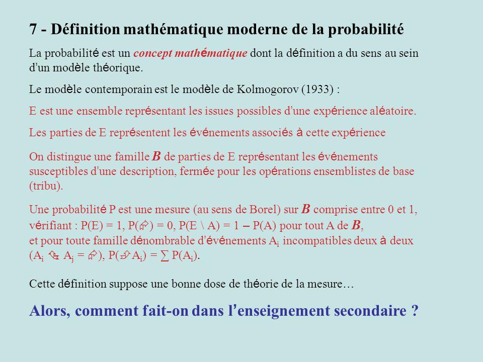 7 - Définition mathématique moderne de la probabilité