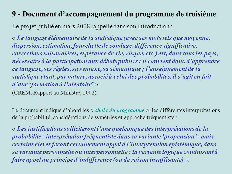 9 - Document d'accompagnement du programme de troisième