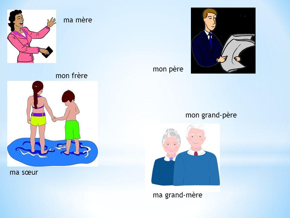 ma mère mon père mon frère mon grand-père ma sœur ma grand-mère