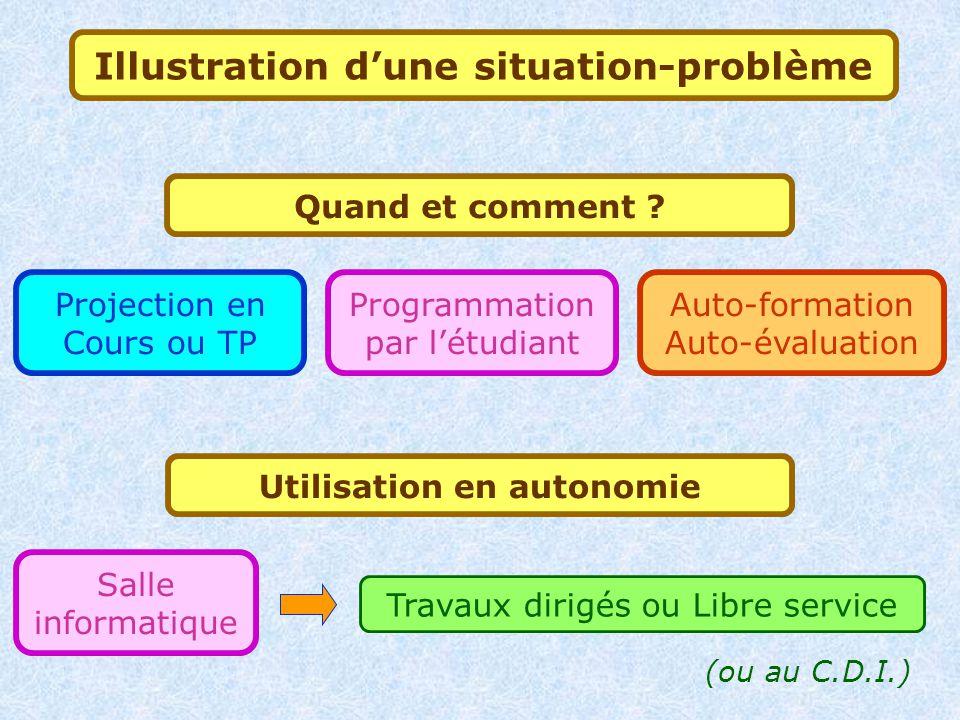 Illustration d'une situation-problème Utilisation en autonomie