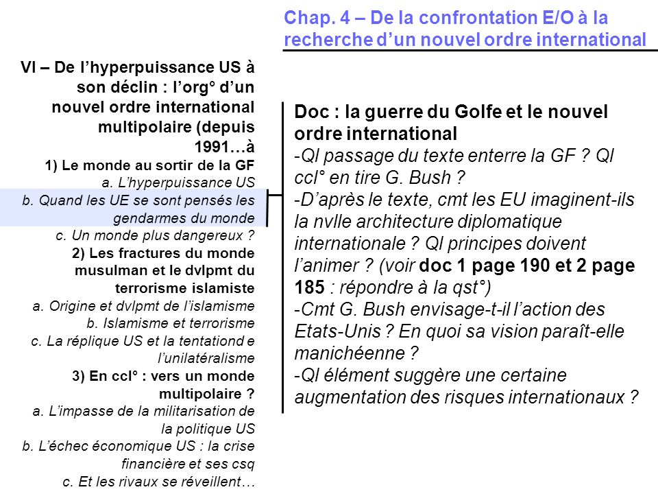 Doc : la guerre du Golfe et le nouvel ordre international
