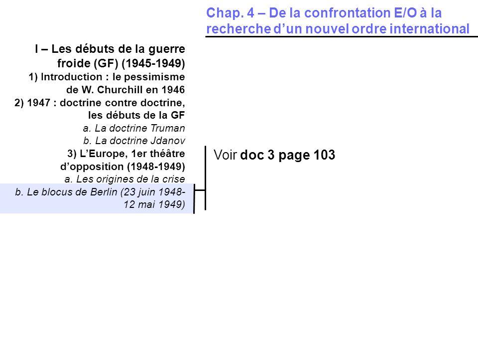 Chap. 4 – De la confrontation E/O à la recherche d'un nouvel ordre international