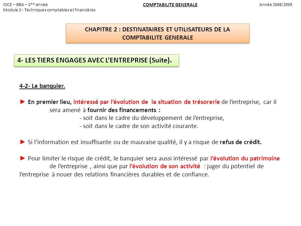 4- LES TIERS ENGAGES AVEC L'ENTREPRISE (Suite).