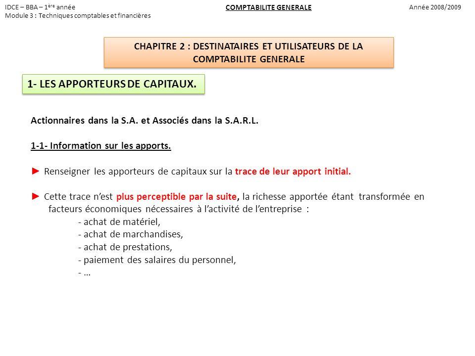 1- LES APPORTEURS DE CAPITAUX.