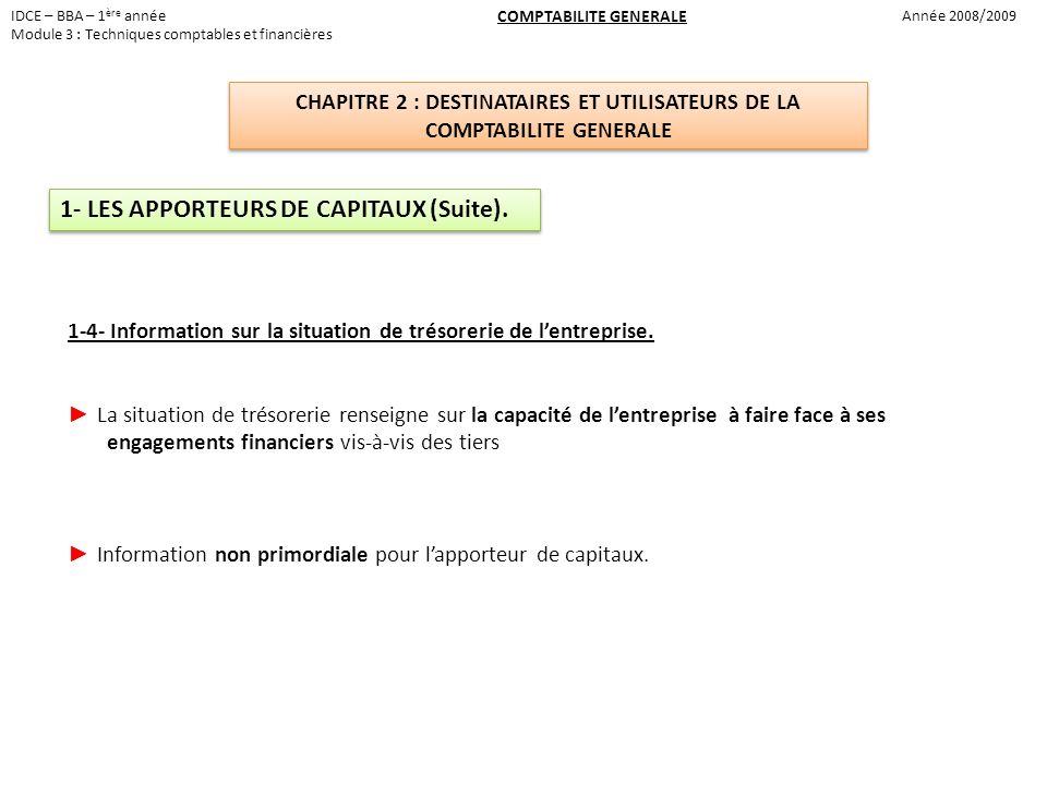 1- LES APPORTEURS DE CAPITAUX (Suite).