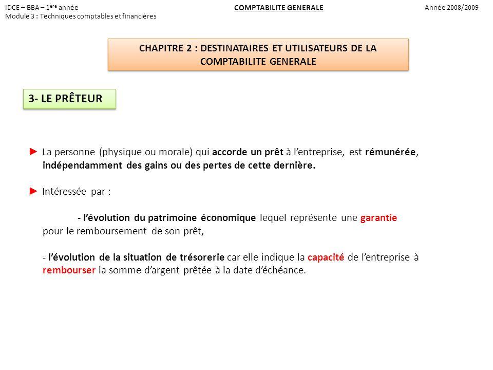 IDCE – BBA – 1ère année Module 3 : Techniques comptables et financières. COMPTABILITE GENERALE. Année 2008/2009.