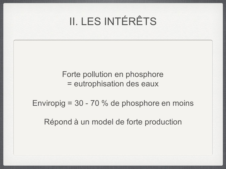 II. LES INTÉRÊTS Forte pollution en phosphore