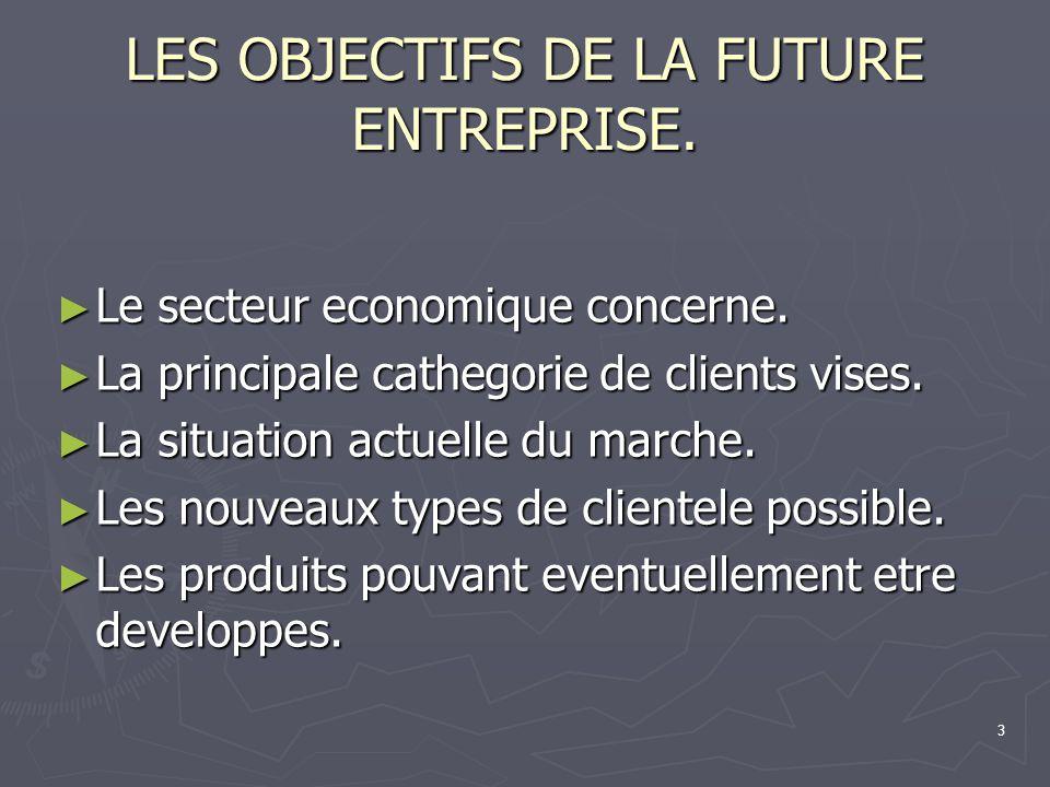 LES OBJECTIFS DE LA FUTURE ENTREPRISE.