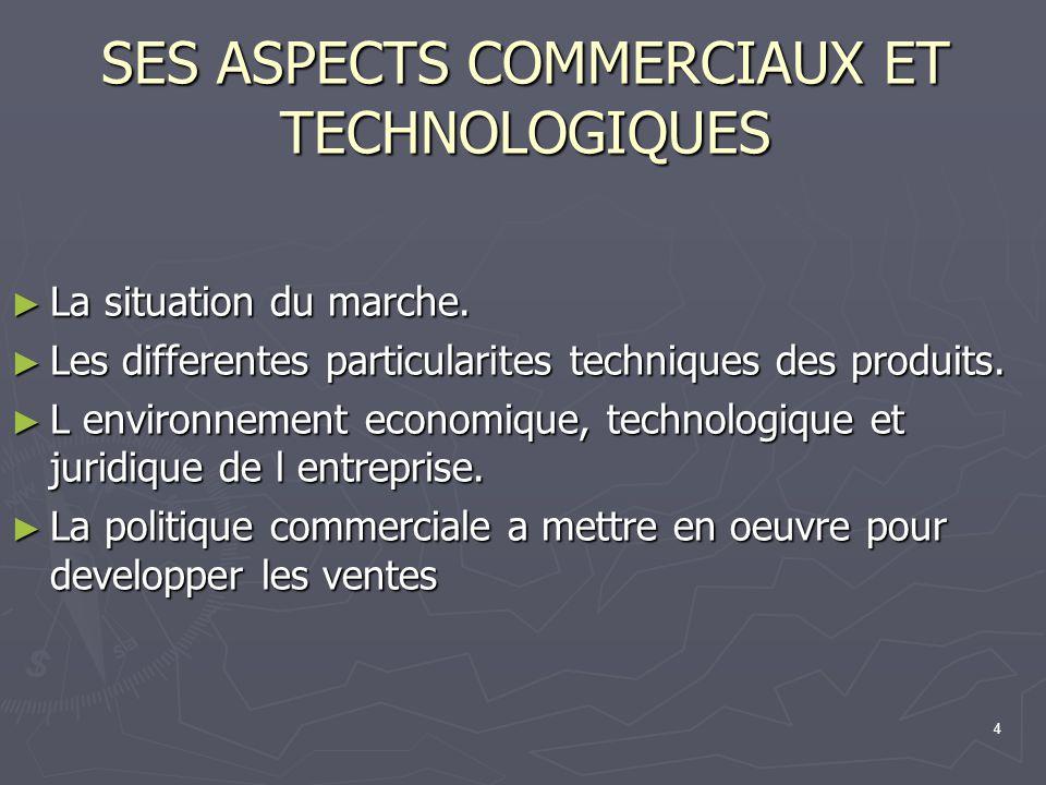 SES ASPECTS COMMERCIAUX ET TECHNOLOGIQUES