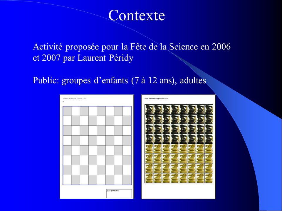 Contexte Activité proposée pour la Fête de la Science en 2006 et 2007 par Laurent Péridy Public: groupes d'enfants (7 à 12 ans), adultes.