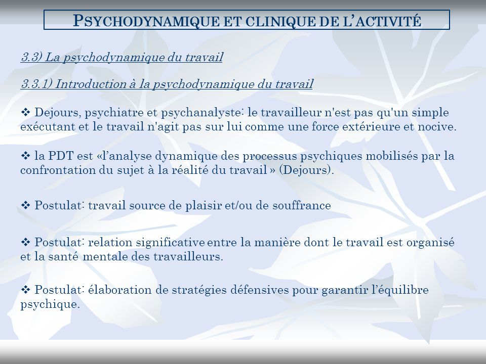 Psychodynamique et clinique de l'activité