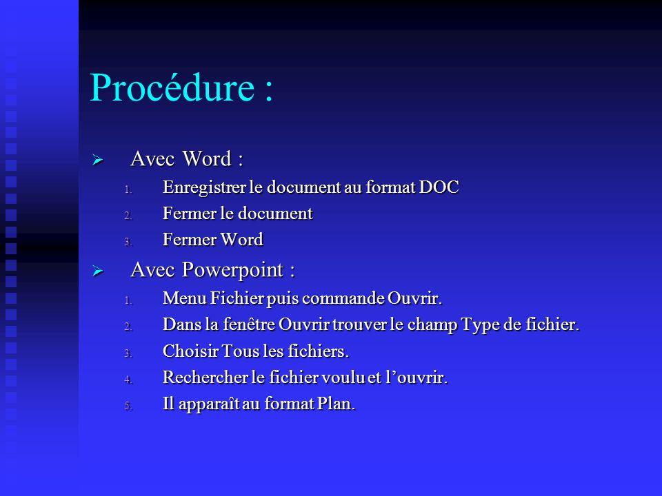 Procédure : Avec Word : Avec Powerpoint :