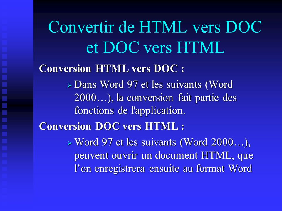 Convertir de HTML vers DOC et DOC vers HTML