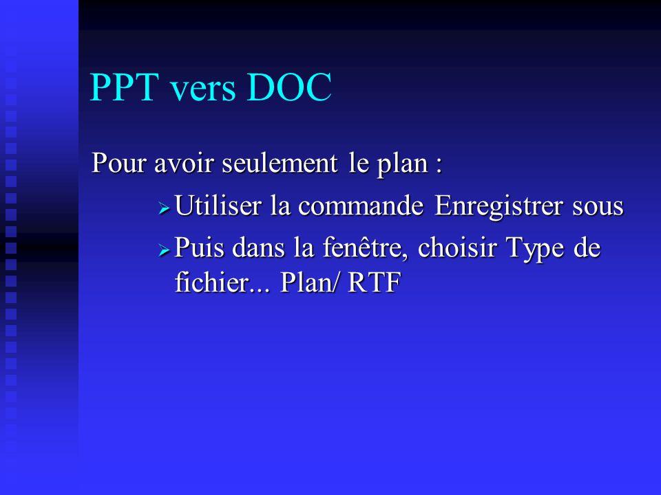 PPT vers DOC Pour avoir seulement le plan :