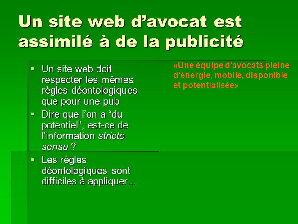 Un site web d'avocat est assimilé à de la publicité