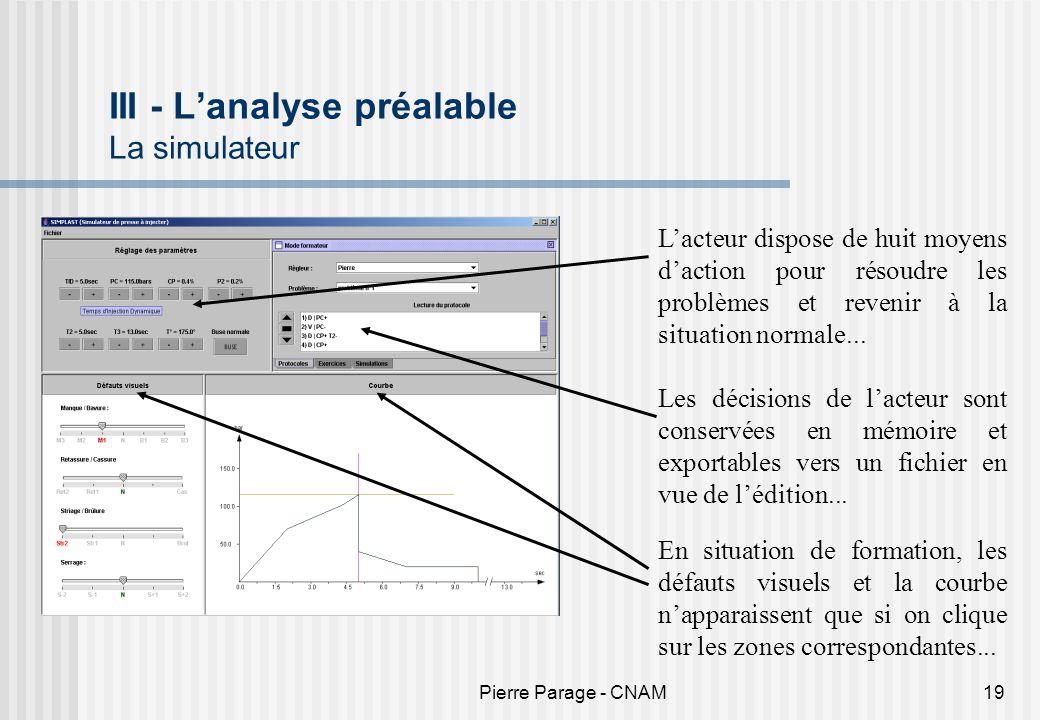 III - L'analyse préalable La simulateur