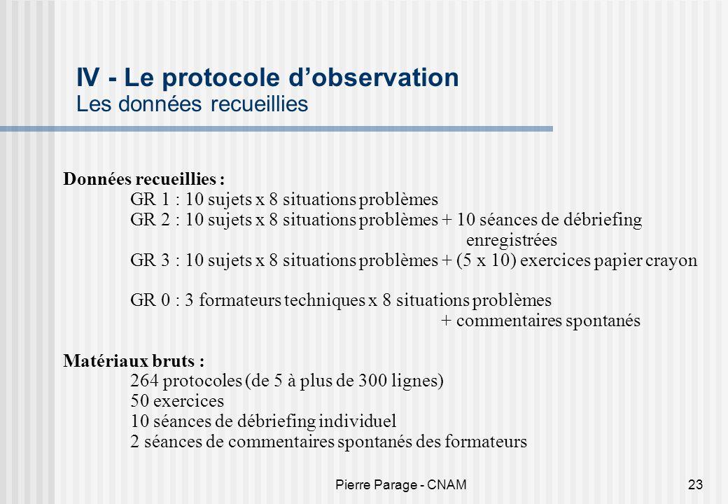 IV - Le protocole d'observation Les données recueillies