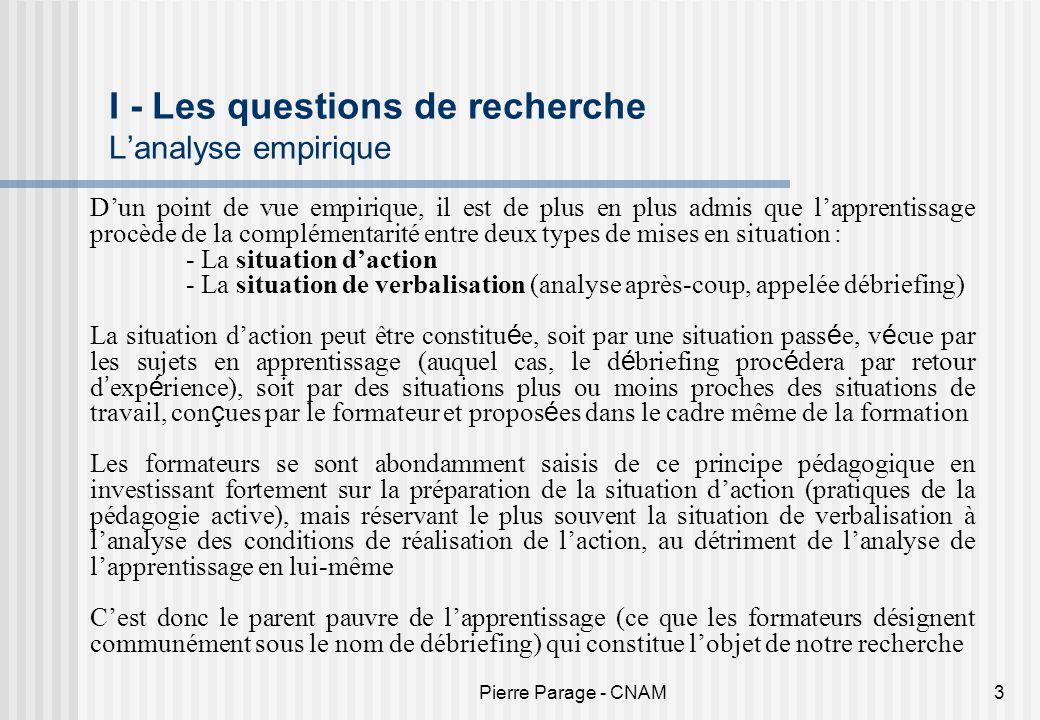 I - Les questions de recherche L'analyse empirique