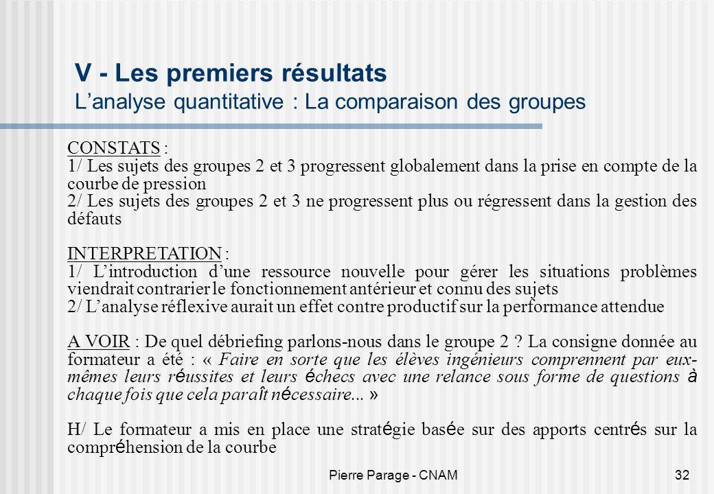 V - Les premiers résultats L'analyse quantitative : La comparaison des groupes