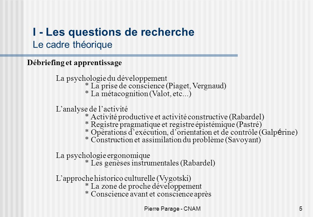 I - Les questions de recherche Le cadre théorique