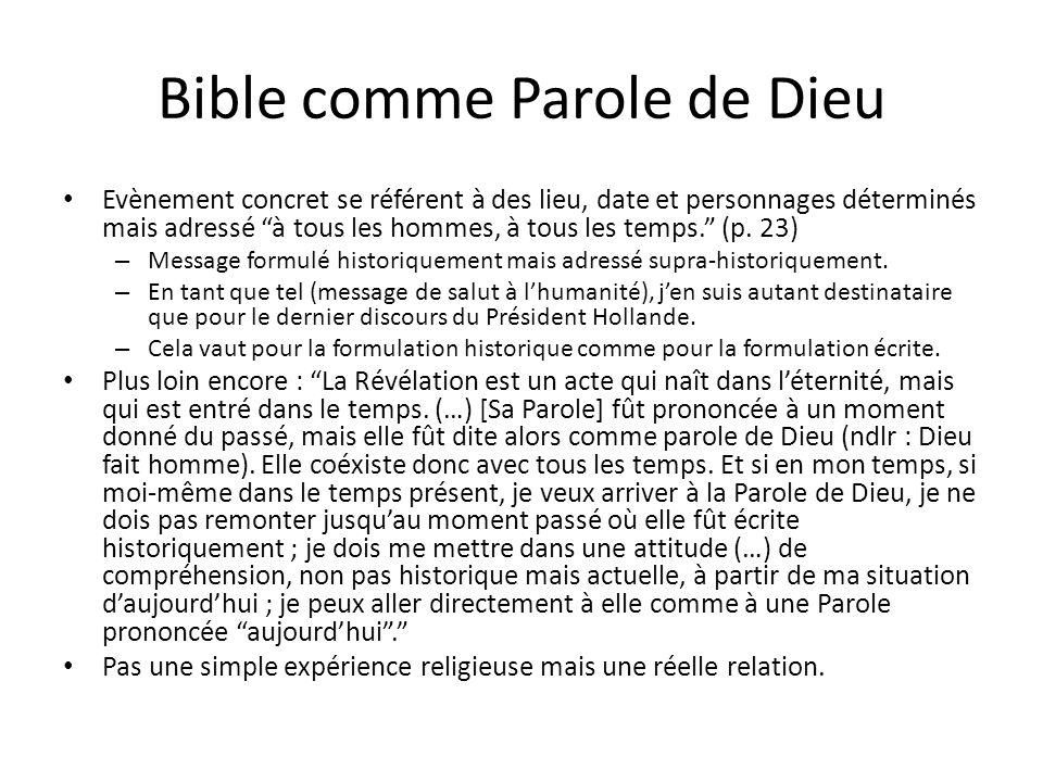 Bible comme Parole de Dieu