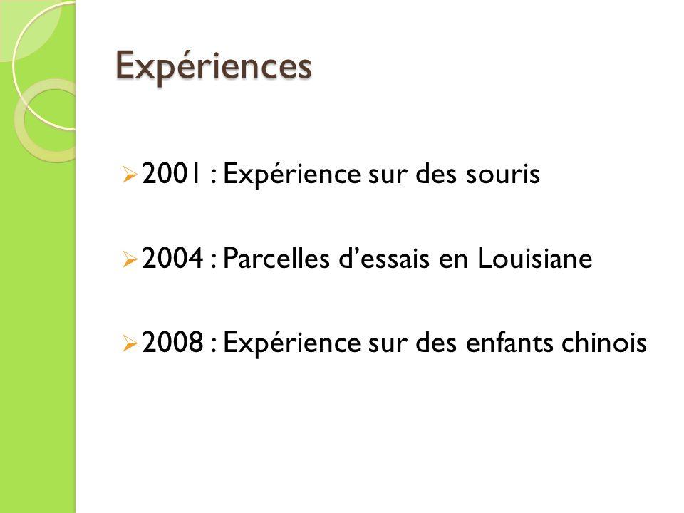 Expériences 2001 : Expérience sur des souris