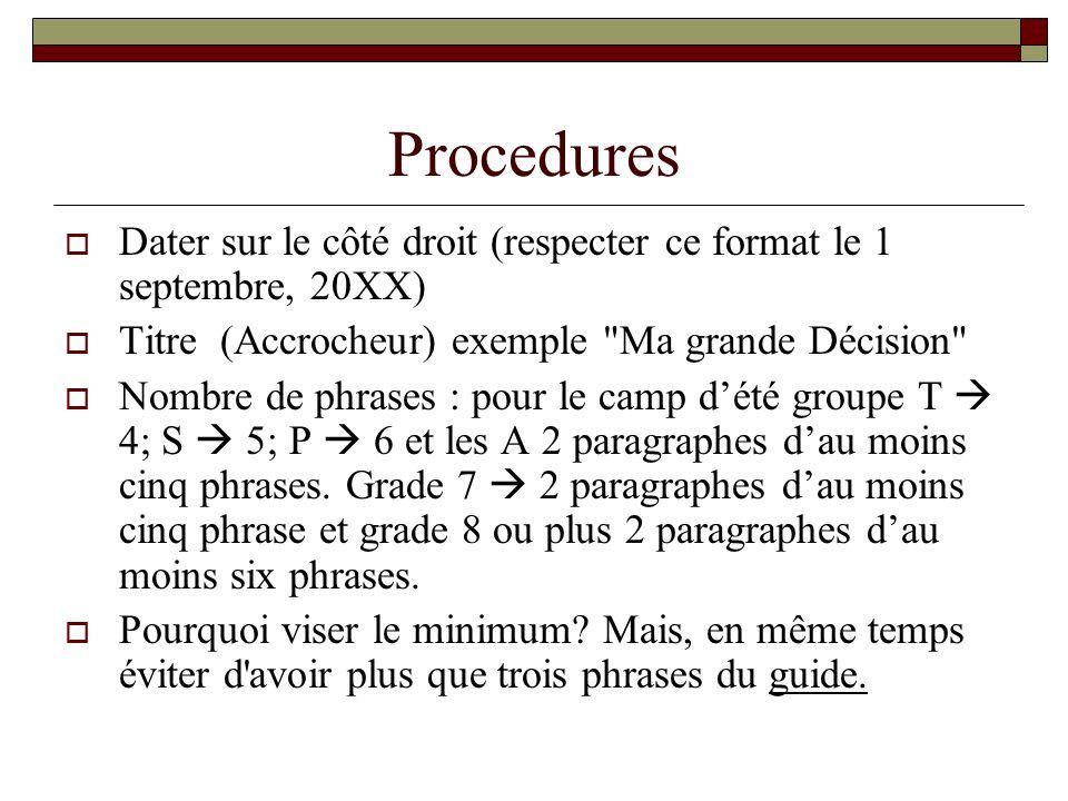ProceduresDater sur le côté droit (respecter ce format le 1 septembre, 20XX) Titre (Accrocheur) exemple Ma grande Décision