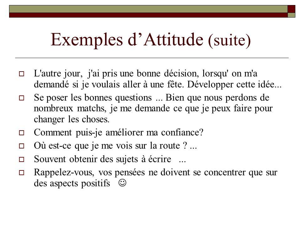 Exemples d'Attitude (suite)