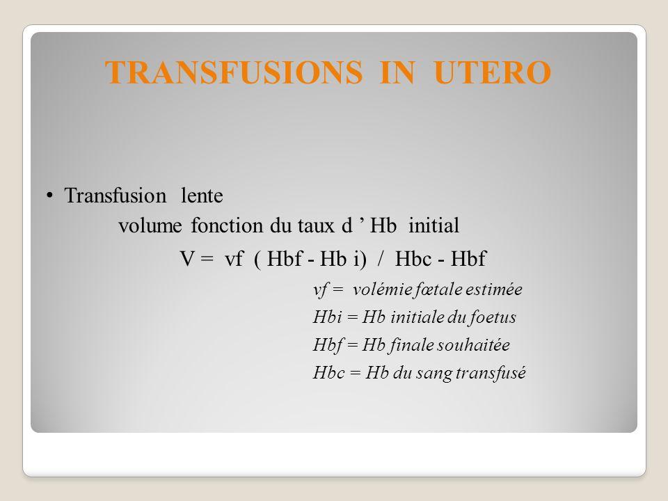 TRANSFUSIONS IN UTERO Transfusion lente