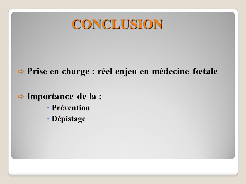 CONCLUSION Prise en charge : réel enjeu en médecine fœtale