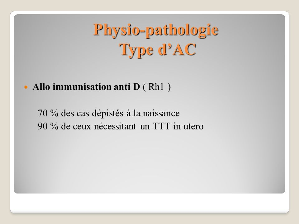 Physio-pathologie Type d'AC