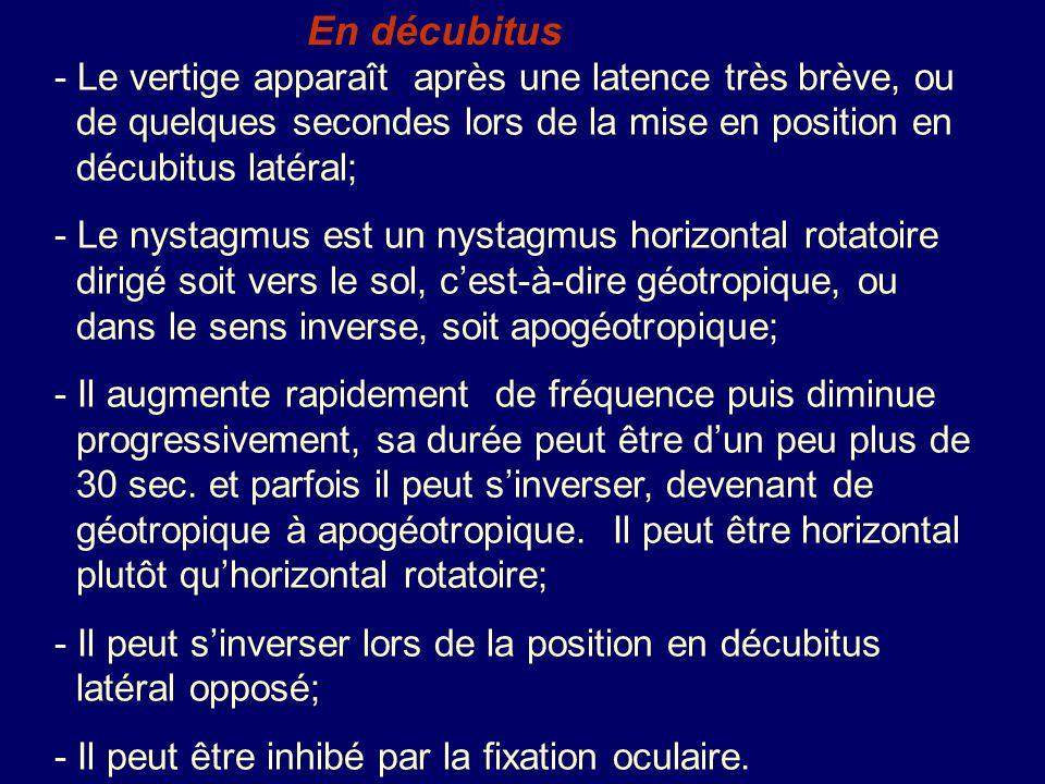 En décubitus - Le vertige apparaît après une latence très brève, ou de quelques secondes lors de la mise en position en décubitus latéral;