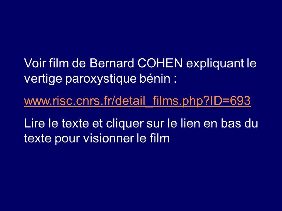 Voir film de Bernard COHEN expliquant le vertige paroxystique bénin :