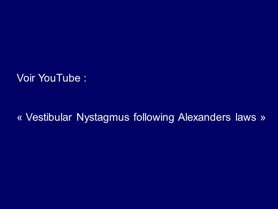 Voir YouTube : « Vestibular Nystagmus following Alexanders laws »