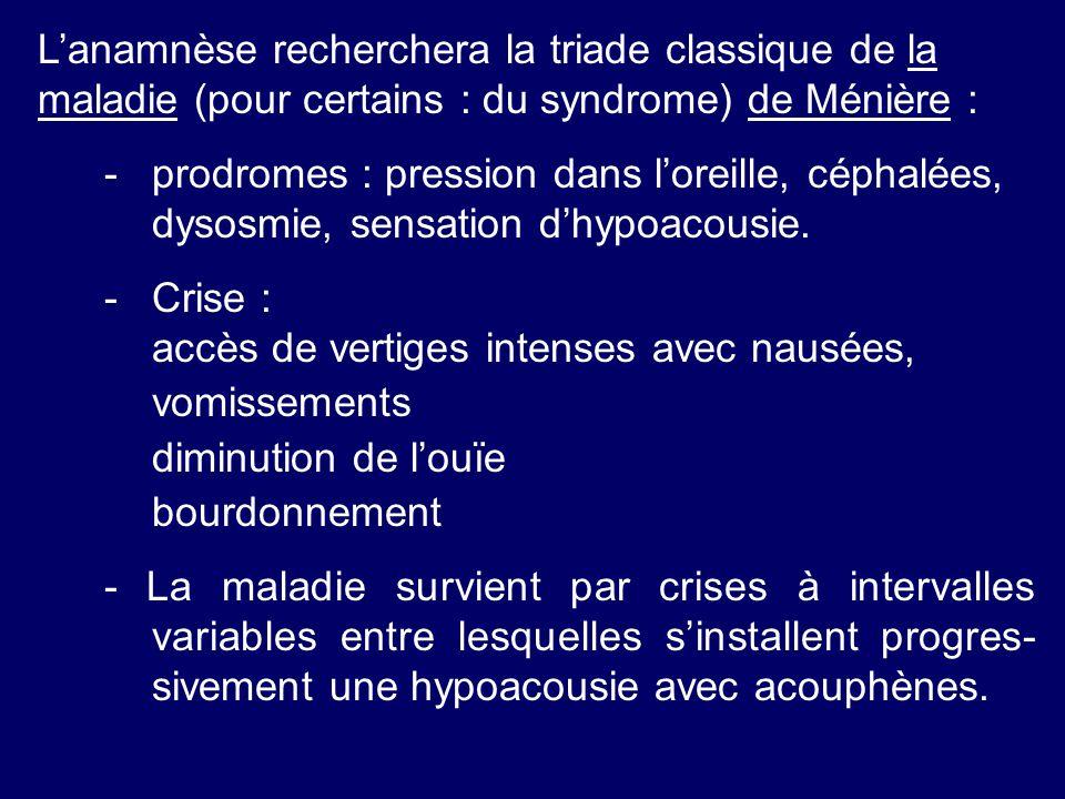 L'anamnèse recherchera la triade classique de la maladie (pour certains : du syndrome) de Ménière :