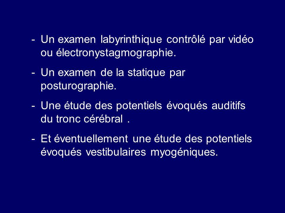 Un examen labyrinthique contrôlé par vidéo ou électronystagmographie.