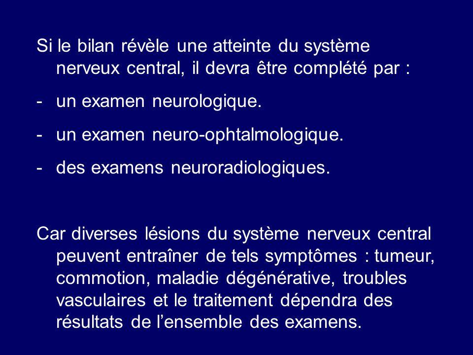Si le bilan révèle une atteinte du système nerveux central, il devra être complété par :