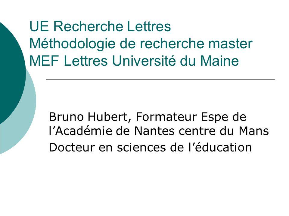 UE Recherche Lettres Méthodologie de recherche master MEF Lettres Université du Maine