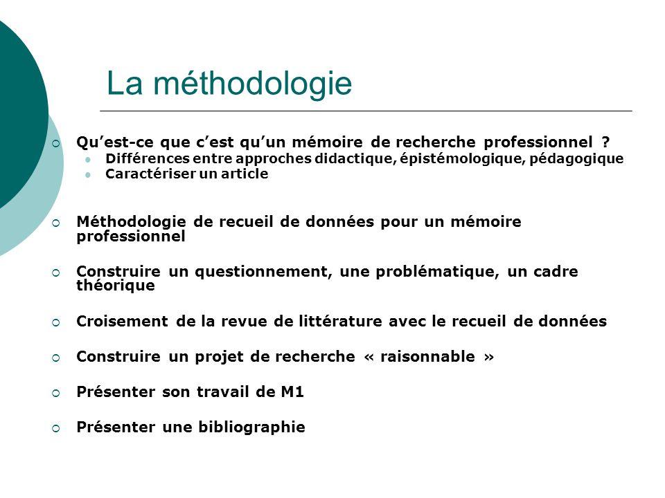 La méthodologie Qu'est-ce que c'est qu'un mémoire de recherche professionnel Différences entre approches didactique, épistémologique, pédagogique.