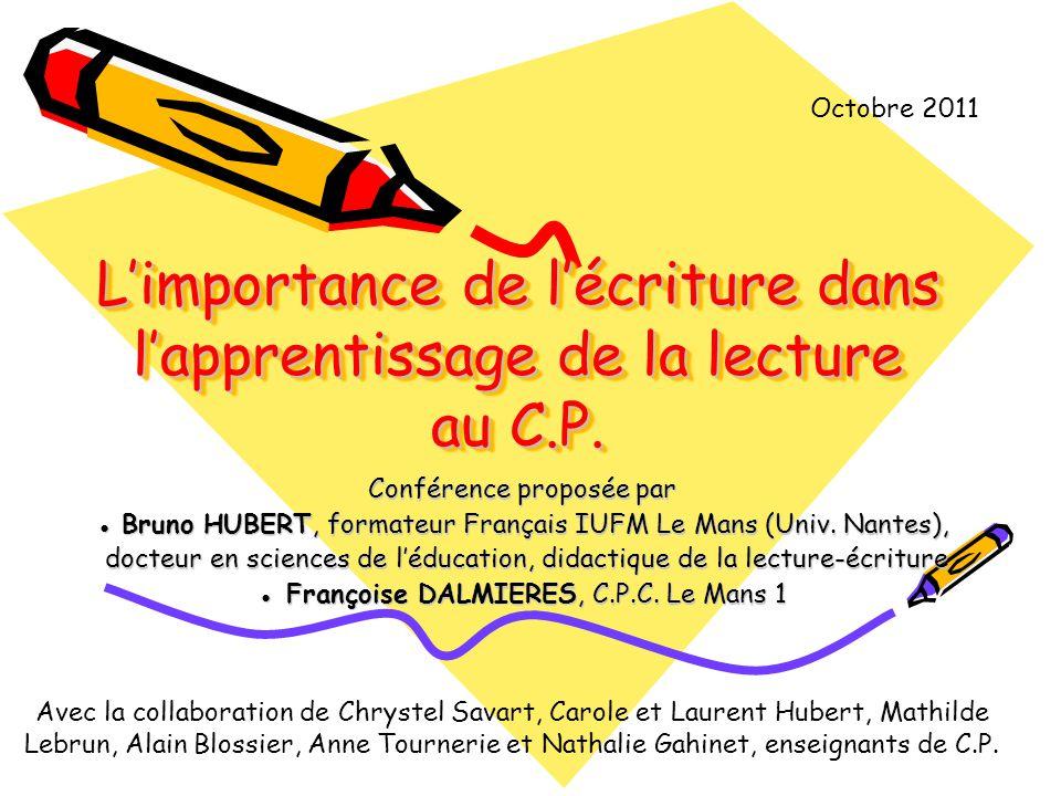 L'importance de l'écriture dans l'apprentissage de la lecture au C.P.