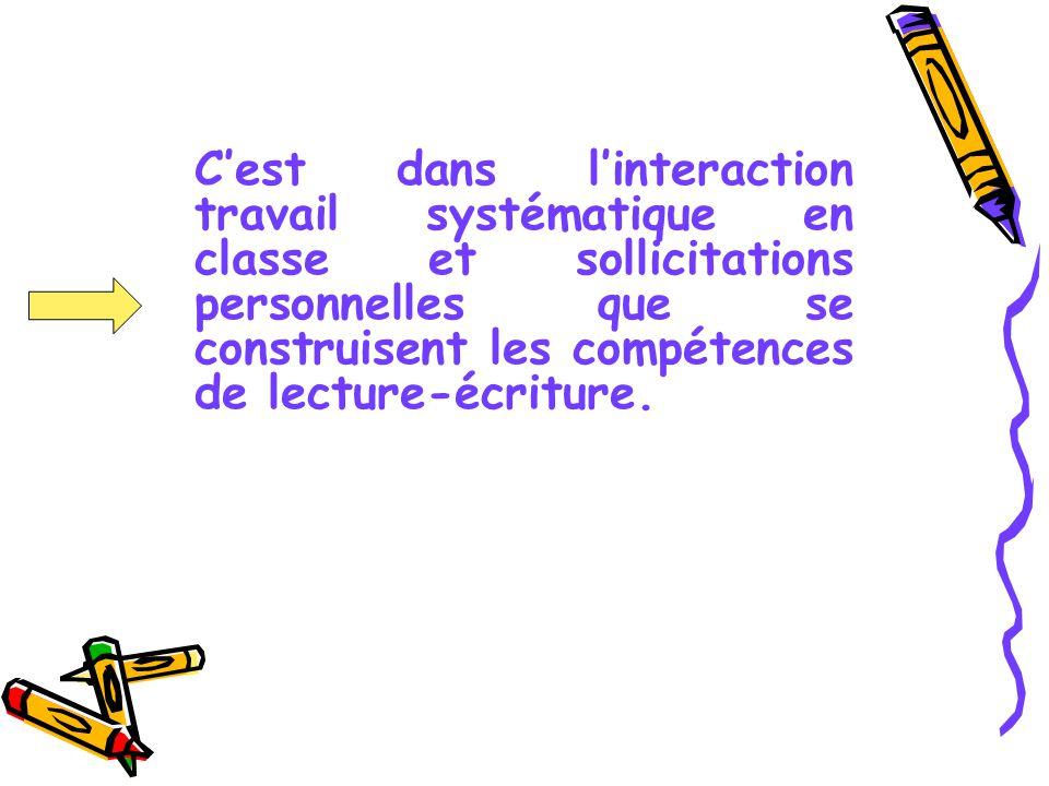 C'est dans l'interaction travail systématique en classe et sollicitations personnelles que se construisent les compétences de lecture-écriture.