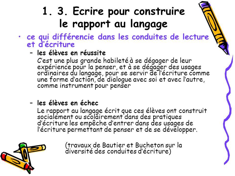 1. 3. Ecrire pour construire le rapport au langage