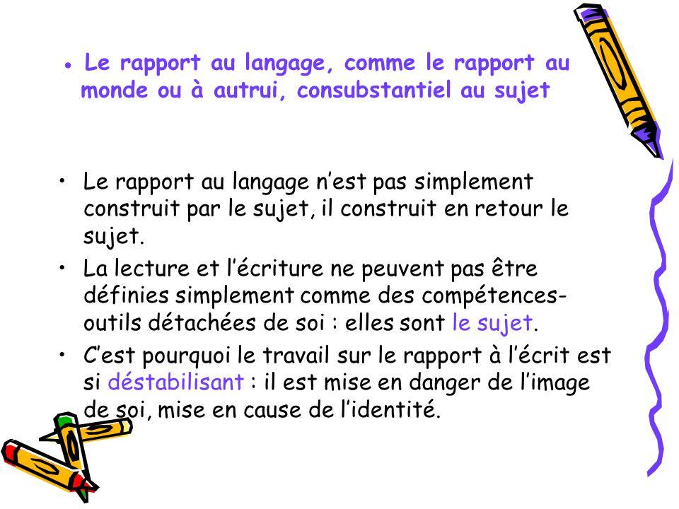 ● Le rapport au langage, comme le rapport au monde ou à autrui, consubstantiel au sujet