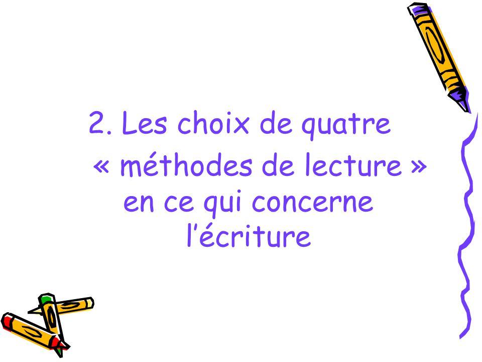 « méthodes de lecture » en ce qui concerne l'écriture