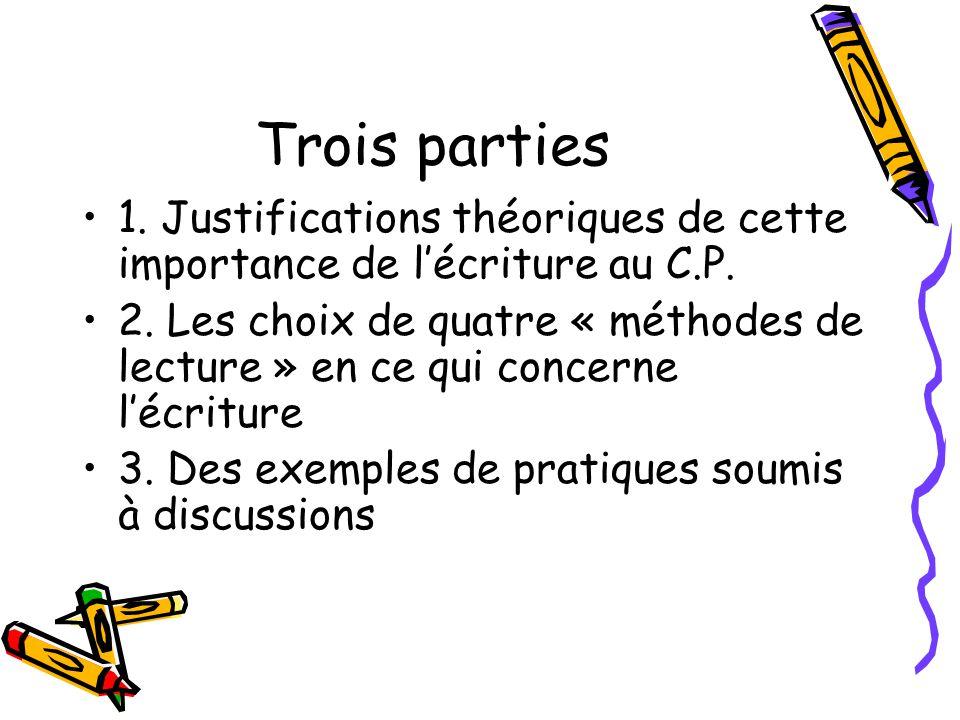 Trois parties 1. Justifications théoriques de cette importance de l'écriture au C.P.